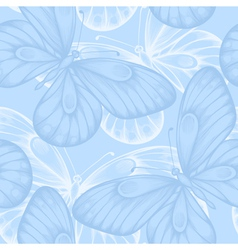 seamless background with blue butterflies vector image