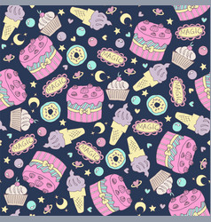 seamless pattern with birthday cake vector image
