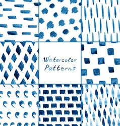 Set of watercolor simple patterns vector image vector image