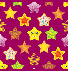 shiny stars different style seamless pattern vector image vector image
