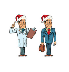 Smiling christmas doctor and businessman vector