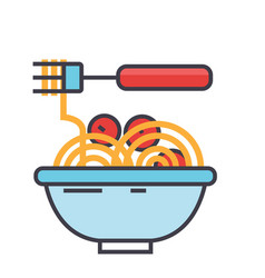 Spaghetti bolognese with meat balls italian vector