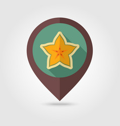 Starfruit carambola carom pin map icon fruit vector