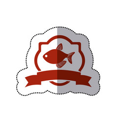 sticker sticker heraldic borders with fish and vector image vector image