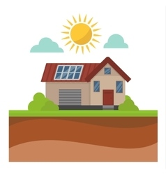 Sun solar energy house vector