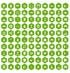 100 breakfast icons hexagon green vector