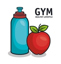 Gym healthy lifestyle bottle water and apple vector