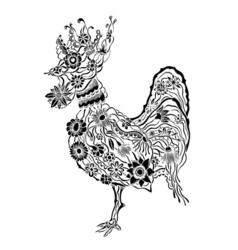 floral ornate rooster vector image