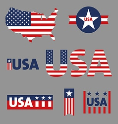 Usa labels sign tag set vector