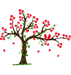 Love tree with heart liana and vine vector