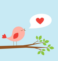 Cute bird and speech bubble with heart vector