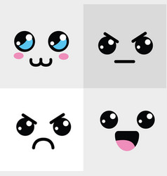 kawaii happy and angry face icon vector image