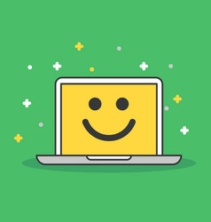 Laptop with smile icon  modern flat vector