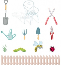 Gardening objects vector