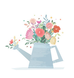 Bright composition of flowers in a garden watering vector