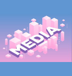 Creative of three dimensional word media with vector