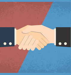 Handshake on red blue background business vector