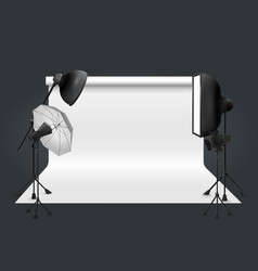 Photo studio with lighting equipment and vector