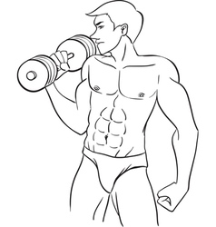 Man with dumbbells vector