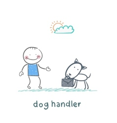 Canine teaches the dog to bring a suitcase vector