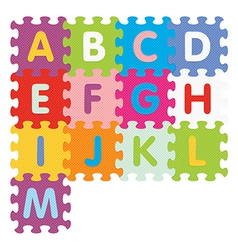 Alphabet from a to m written with puzzle vector