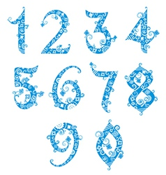 Set of stylized numbers vector