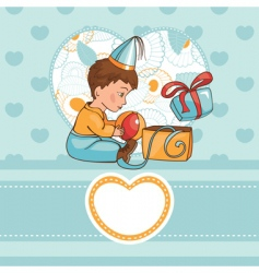 Child with a birthday present vector