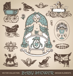 Baby shower antique design elements set vector