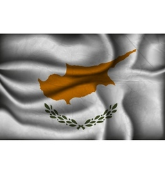 Crumpled flag of cyprus on a light background vector
