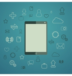 Tablet with apps vector image