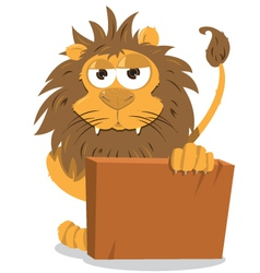 Cute lion holding a blank sign vector