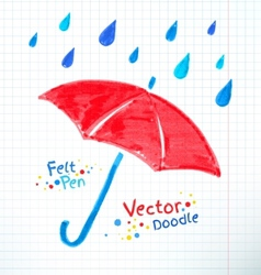 Umbrella and rain drops felt vector