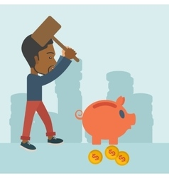 Black guy holding a hammer breaking piggy bank vector