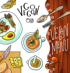 Menu vegetarian cafe vector