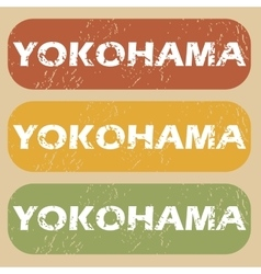 Vintage yokohama stamp set vector