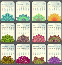 2016 calendar decorated with circular flower vector