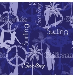 Surfing california blue seamless pattern vector