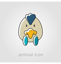 Chicken flat icon animal head vector