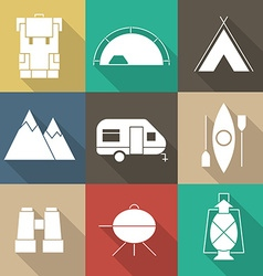 Camping outine icon set of adventure elements vector