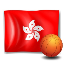 A ball in front of the flag of Hongkong vector image