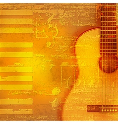 Abstract yellow grunge piano background with vector
