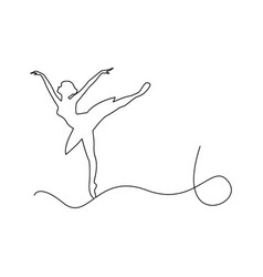 Ballerina dancing outline black vector