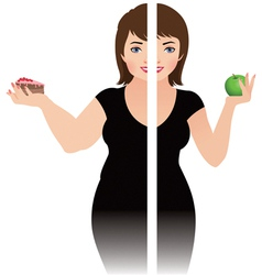 Before and after a diet vector image vector image
