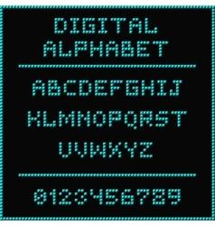 Blue digital alphabet vector image vector image