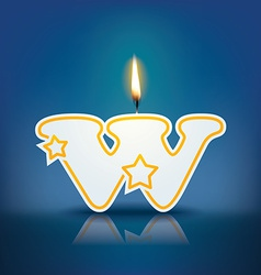 Candle letter w with flame vector image