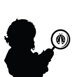 child with ladybug silhouette vector image