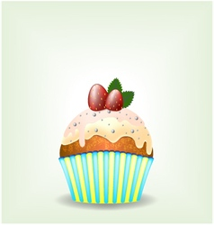 Delicious cupcake with milky chocolate cream vector