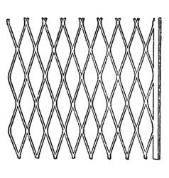 Expanded metal metallic lath vintage engraving vector