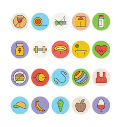 Fitness and health colored icons 1 vector