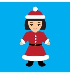 Flat icon on blue background santa girl vector